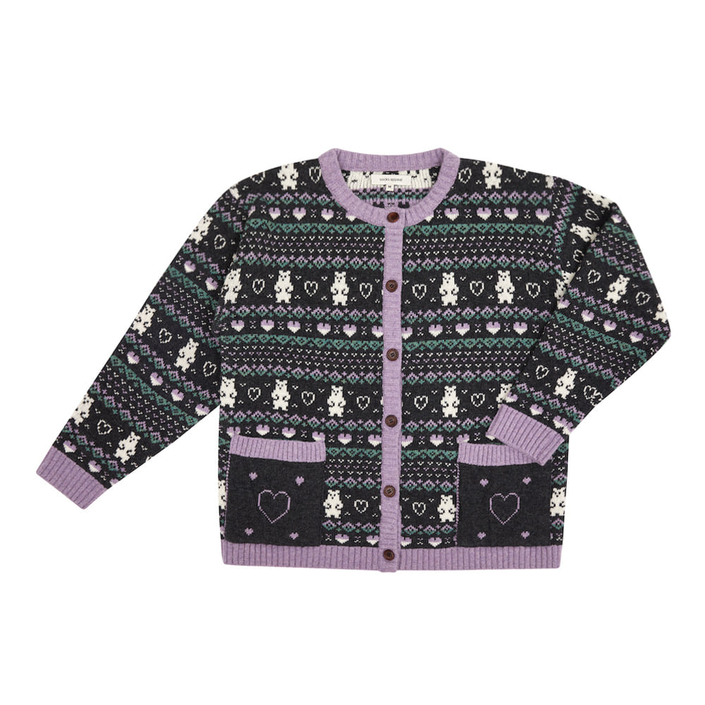 fair isle bear cardigan charcoal (EVENT 10% OFF)