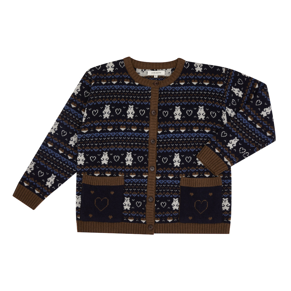 fair isle bear cardigan navy (EVENT 10% OFF)